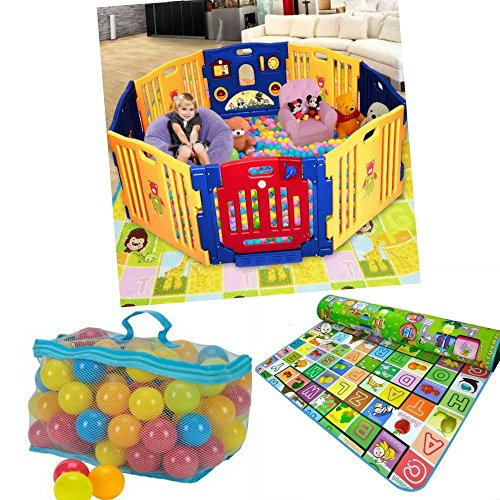 Baby Playpen w /Activity Playmat 100 Coloured Balls - Indoor Outdoor Use - Strong, Easy to Assemble Slot in Panels - No Fixings Required - International Delivery