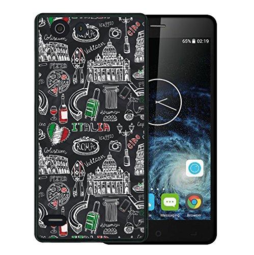 Elephone S2 Hülle, WoowCase Handyhülle Silikon für [ Elephone S2 ] Roma Itallien Symbole Handytasche Handy Cover Case Schutzhülle Flexible TPU - Schwarz
