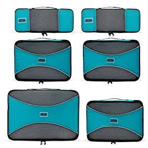 PRO Packing Cubes   6 Piece Travel Packing Cube Value Set   30% Space Saver Bags   Ultra Lightweight   Great for Duffel Bags, Carry on Luggage, and Backpacks (Aqua Blue)