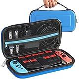 Tasche für Nintendo Switch, Case Reiseetui Hülle (Slim Version) mit Netztasche und Reißverschluss - Wasserabweisend in Blau