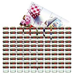 100er Set Sturzglas 125 ml Marmeladenglas Einmachglas Einweckglas To 66 Obst Dekor Deckel incl. Diamant-Zucker Gelierzauber Rezeptheft