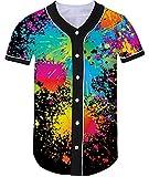 Best bottons - Loveternal Unisexe 3D Coloré Spray Imprimé Baseball Jersey Review