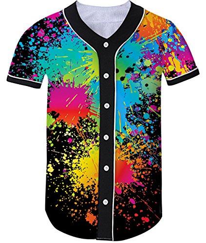(Loveternal 3D Farbspray Grafik Gedruckt Coole Baseball Jersey Softball Team Personalisierte Freizeithemd für Erwachsene M)