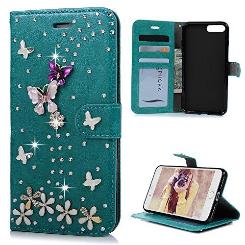 Mavis's Diary iPhone 7 Plus(5,5 Zoll) Case Lila Flipcase Holster Handmade 3D Muster Gold Schmetterling Tasche PU Ledercase Cover Hüllen Schutzhülle Scratch Bumper Fall Euit Bookstyle Magnetverschluss  Blau