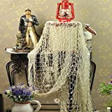 Vktech Antique Decorative Nautical Fishing Net Beach Party Mediterranean Style Beige With all the Decorations as the Picture Shown