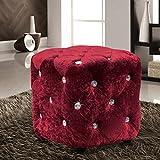 Velosso Luxus gecrushter Samt mit Cube Hocker Sitz 30cms x 30cms Rot