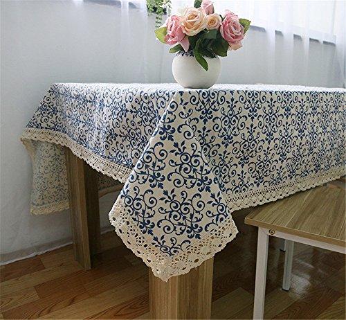 Mode classique Nappe Bleu et blanc fleur Imprimé à la poussière rectangulaire Nappe fête de mariage Hôtel Housse de table Multi Tailles Dentelle Lin Coton Nappe, bleu/blanc, 90x90 cm (36x36 inch)