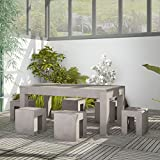 SSITG Beton Gartenmöbel Set Sitzgruppe Essgruppe Gartengarnitur Tisch Hocker