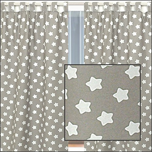 2x tende grigie con stelle bianche per bambino nursery for Tende bianche e grigie