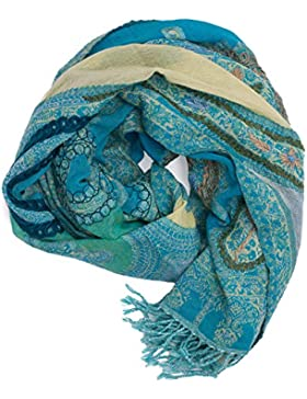 Bufanda Pashmina de Punjab, India, bordado à mano y calentita, estampado Paisley, cm - 100% lana