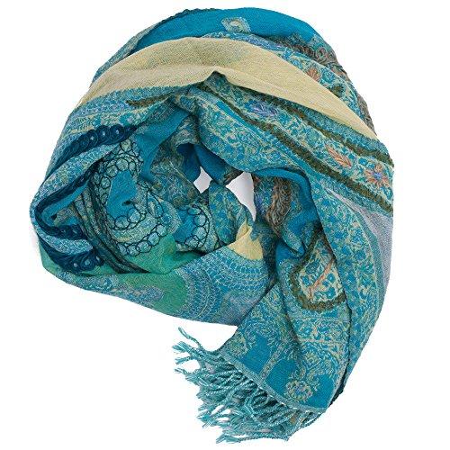 ufash Pashmina Schal, handbestickt & warm, aus Punjab, Indien, Paisley Muster, 180 x 70 cm - 100% Wolle, Grün