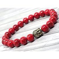 Bracciale donna etnico Zen Thurcolas in perle di turchese ricostituite colorate di rosso e Buddha in ottone