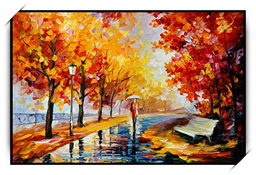 Herbst Landschaft Gemälde Artwork Handgemalte Qualität Dekorative Set Kein Rahmen , picture2