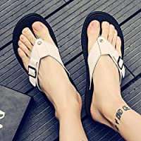 fankou Slippers Male Summer Sandals Men's Beach Student Shoes, Casual Clip Toe Sandals Men Field Drag-and-Drop,42, White Male Tide
