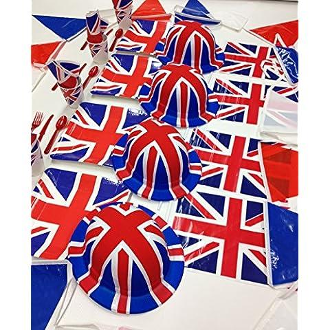 Unión Jack bandera banderines vajilla de Reino Unido británico celebraciones, eventos, deportivos ocasiones, fiestas y Royal visitas