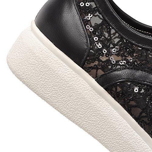 VogueZone009 Femme Rond à Talon Bas Lacet Couleur Unie Chaussures Légeres Noir