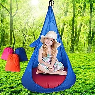aheadad Silla Hamaca Infantil Niños Asiento Columpio Niños Pod Hamaca Duradera Tienda Asiento Colgante Cómoda Interior Y Exterior Jardín De Su Casa