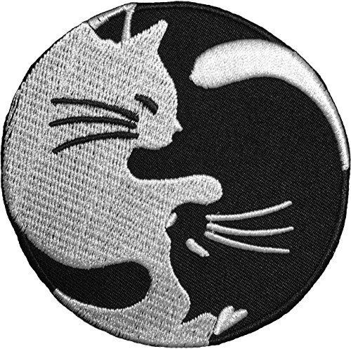 Papapatch Cat Yin Yang Kung Fu Chinese Tao Balance Zeichen Logo T-Shirt Kostüm DIY Applikation bestickt Aufbügler Iron on Patch (Katze Yin Yang) (Diy Mermaid Kostüm)