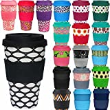 LS Design Öko eCoffee Cup 400ml Coffee to Go Becher Silikonring Bamboo Bambus Basket Case - Schwarz Weiss
