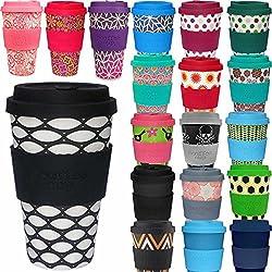 LS Design Öko eCoffee Cup 400ml Coffee to Go Becher Silikonring Bamboo Bambus Basket Case - Schwarz Weiss