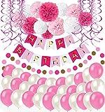 Happy Birthday Girlande Rosa Weiß Pompoms Luftballons Spiralgirlanden Geburtstag Deko Partydeko set