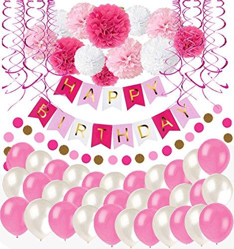 Happy Birthday Girlande Rosa Weiß Pompoms Luftballons Spiralgirlanden Geburtstag Deko Partydeko ()