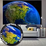 great-art Fototapete Amerika am Tag Wandbild Dekoration Space Weltall Kosmos Weltkugel World Map Day USA Wandgestaltung Welt Globus | Foto-Tapete Wandtapete Fotoposter Wanddeko by (210 x 140 cm)