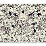 murando - Fototapete 400x280 cm - Vlies Tapete - Moderne Wanddeko - Design Tapete - Wandtapete - Wand Dekoration - Blumen Vogel Totenkopf b-A-0169-a-c