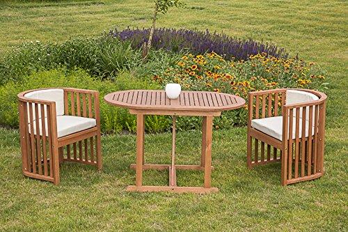 baumarkt direkt 5-tlg. Gartenmöbelset Brasilia, 2 Sessel, Tisch 120x70 cm, Eukalyptusholz, inkl. Auflagen braun