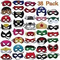 38 Pezzi Maschere di Supereroi, Supereroe per feste, Maschere Supereroi Per Bambini, Maschere Feltro Mascherine del Partito, Supereroi Maschere Cosplay Per Bambini Adulti