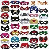 DREAMWIN 38 Piezas Máscaras de Superhéroe, Máscaras de Cosplay de Superhéroe, Accesorio de Fiesta Infantil y Adultos, Máscaras para Niños y Adultos, Suministros de Fiesta de Superhéroes