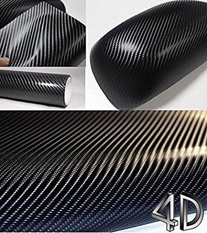 Vinilo adhesivo impermeable 4D negro de fibra de carbono para forrar componentes de coche de 200 x 50 cm