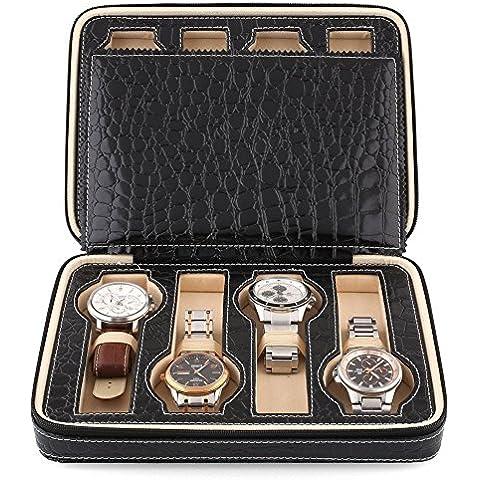 Amzdeal Scatola per 8 orologi di stile della chiusura lampo-nero