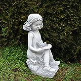 Massive Steinfigur Mädchen mit Vogel Kinderfigur aus Steinguss frostfest