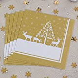Luxury Christmas Winter Wonderland Paper Napkins 20 Pack Gold and White Christmas Tree and Deer Design