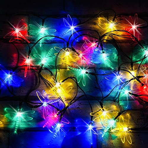 50 Multi-Colour LED Dragonfly Solar Fairy Lights / Solar String Lights by SPV Lights: The Solar Lights & Lighting Specialists (Free 2-year Warranty)