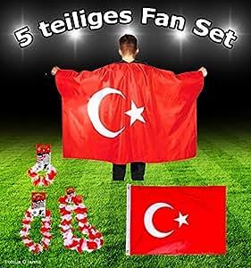 DEKO Fan-Set 5 Teilig TÜRKEI TÜRKIYE BAYRAK EM WM Fanartikel Fanpaket Dekoration Party-Deko