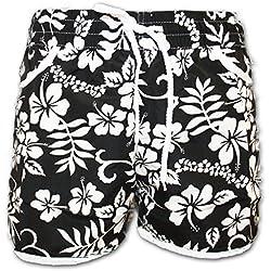 A-Express Schwarz Damen Badeshorts Sommer Blumen Shorts Surfen Blumenmuster Strand Hose Größe 36-38