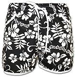 A-Express Damen Gemusterte Badeshorts Sommer Hotpants Blumen Shorts Surfen Blumenmuster Strand Hose mit verstellbarem Bund (Schwarz, EU40-42)