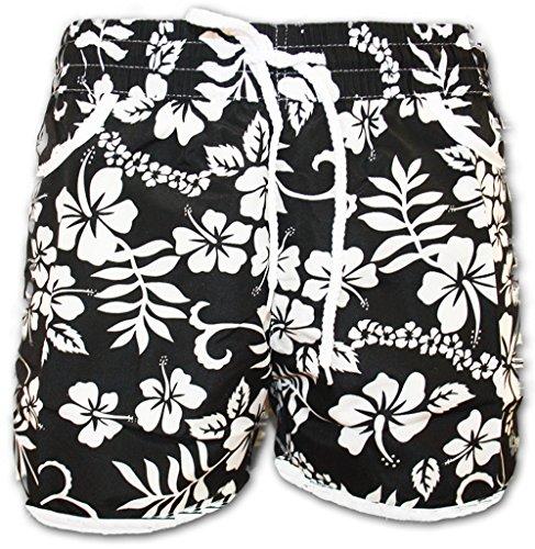 A-Express Schwarz Damen Badeshorts Sommer Blumen Shorts Surfen Blumenmuster Strand Hose Größe 44