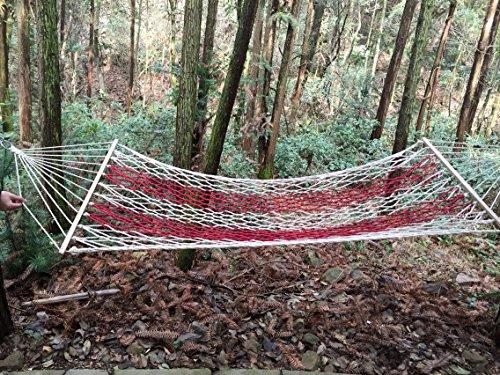 WXDC Hängematte Vietnam Outdoor-Doppel-Netz-Hängematte Erwachsenen Kind Einzel-Hängematte Schlafsaal Freizeit Schaukel, 110 Stöcke [Breite 80cm] rote Kombination gebundenes Seil