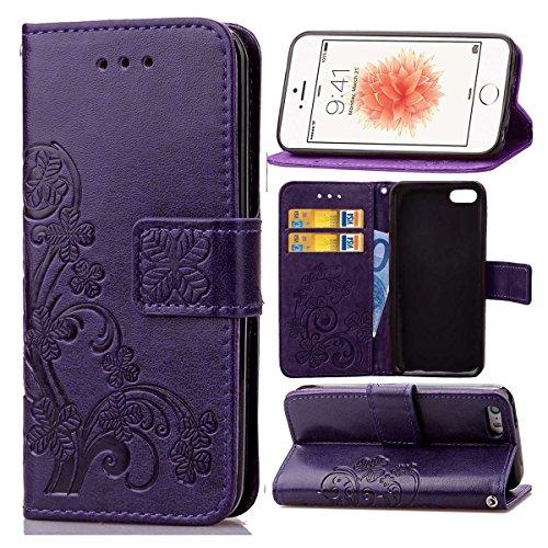 Guran® PU Ledertasche Case für iPhone 5 5S / iPhone SE Smartphone Flip Cover Brieftasche und Stent Funktionen Hülle Glücksklee Muster Design Schutzhülle - Lila