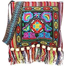 Bolso de Hombro étnico Retro Hmong Bordado Boho Hippie Borla Bolso Oblicuo (Rojo)