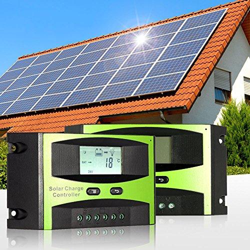 KKmoon 20A 12V/24V Solar Laderegler PWM Aufladung Temperatur Kompensation Überladung Schutz LCD Display für netzunabhängige Solaranlage -