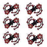 Set di 6 fermacapelli a forma di fiore di susina, con strass, per mini copricapi rosso Red Taglia unica