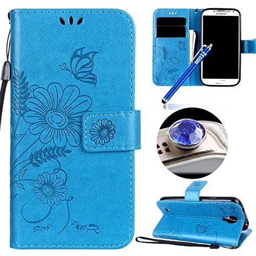 Etsue Kompatibel mit Samsung Galaxy S4 Handyhülle Schutzhülle Handytasche Leder Hülle Flip Tasche Case Wallet Cover Schmetterling Blume Luxus Vintage Ledertasche Klapphülle Brieftasche Hülle,Blau (S4-box Mit Zubehör)