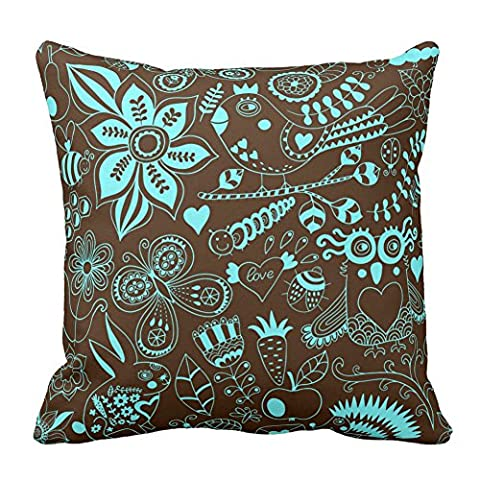 Brown and Aqua Flower Birds Butterfly Rabbit Heart Owl Leaf Throw Pillow Cases Home Decor Coshion Cover 18X18 Inch