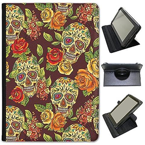 El Dia de los muertos Mexique Jour des morts en simili cuir Snuggle Étui Coque Sac avec support de visionnage pour Hipstreet tablettes Hipstreet Pilot 10 inch Painted Skulls With Flowers