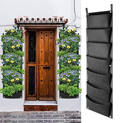 Linkax fioriera da giardino verticale 7 tasca appeso borsa fioriera grow bag per outdoor indoor, erbe, verdure