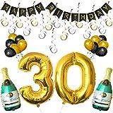 """BELLE VOUS Happy Birthday Luftballons Banner Dekoration Set zum 30. Geburtstag Umfasst Aufblasbare Champagnerflaschen, 101,6cm Gold Nummer """"30"""" Ballons - Dekoratives Party Zubehör Deko Set"""